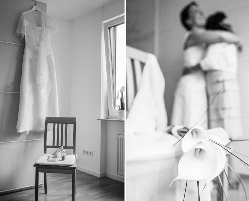 Getting Ready, Hochzeitsfotos, Vorbereitungen, Kleid, Dittelbrunn