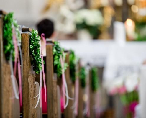 Kirchenschmuck, Detail, Detailfoto Hochzeit, Wedding
