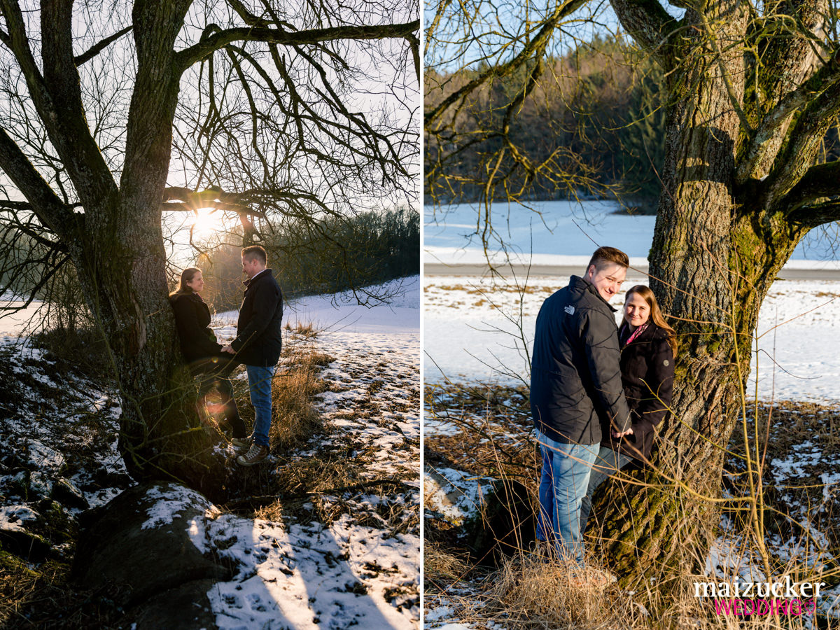 Engagement Shooting im Schnee, Heiraten 2017, Hochzeitsfotografin Daggi Binder, maizucker-wedding